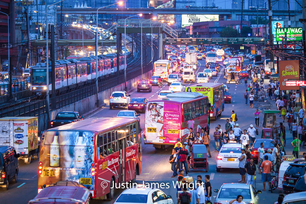 EDSA Traffic - The Main Road Through Metro Manila, Pasay City, Metro Manila, Philippines.   Philippine Photo # 4194  If you wish to purchase a photography print of this image, or would like to license this image please contact us using the form below.  Please kindly include the Image Title and Image Ref # in your message, we will get back to you.