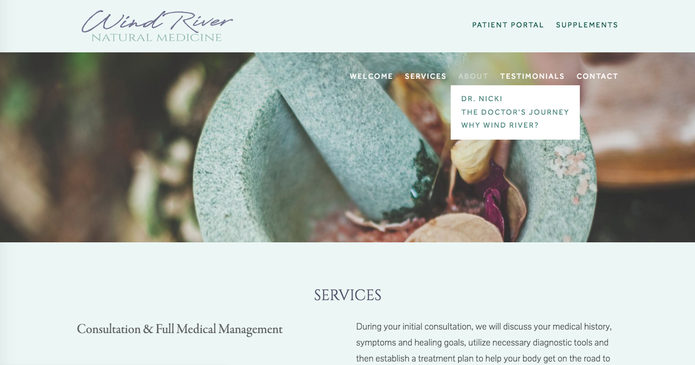 NATUROPATHIC DOCTOR WEBSITE:  Web build, copy editing, branding, content creation, palette/typeface design.