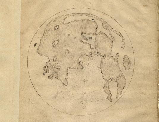 Thomas Harriot's 1st moon drawing