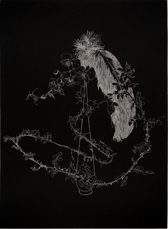 Anne-Laure Sacriste, serie Ikebana, etching, ed Urdla