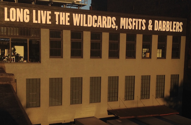 """Long Live the Wildcards, Misfits & Dabblers"" -- seen from the Burnside Bridge, southeast side"