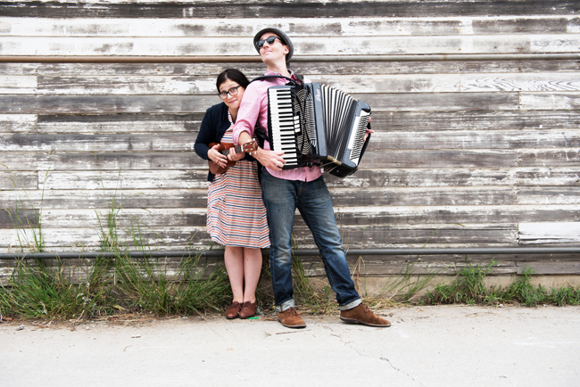 Andrew Barkan and Polly Hall with instruments