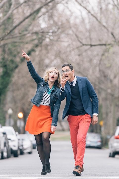 Mindy Thomas and Guy Raz walking down the street