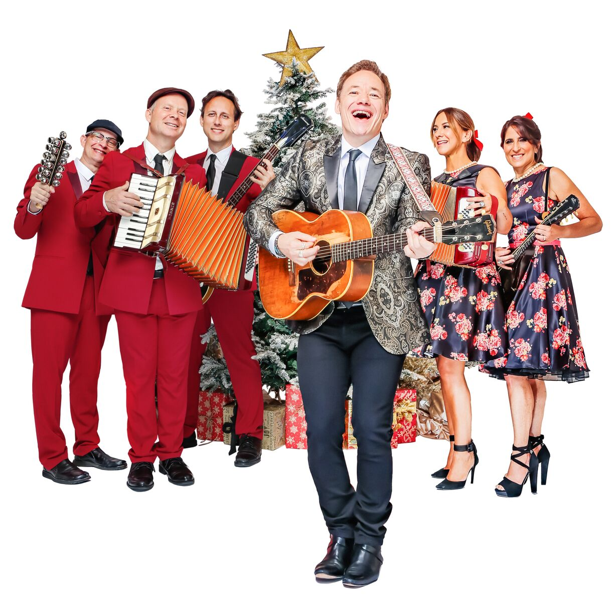 Brady Rymer and the Little Band That Could around the Christmas tree