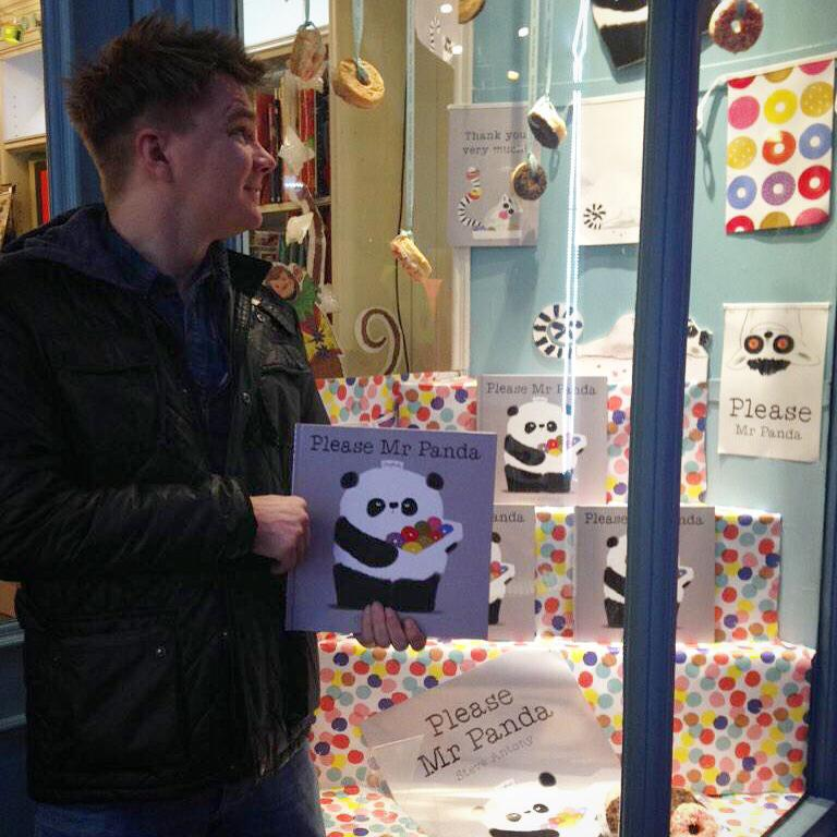 Tales on Moon Lane's doughnut-y bookshop window inLondon.