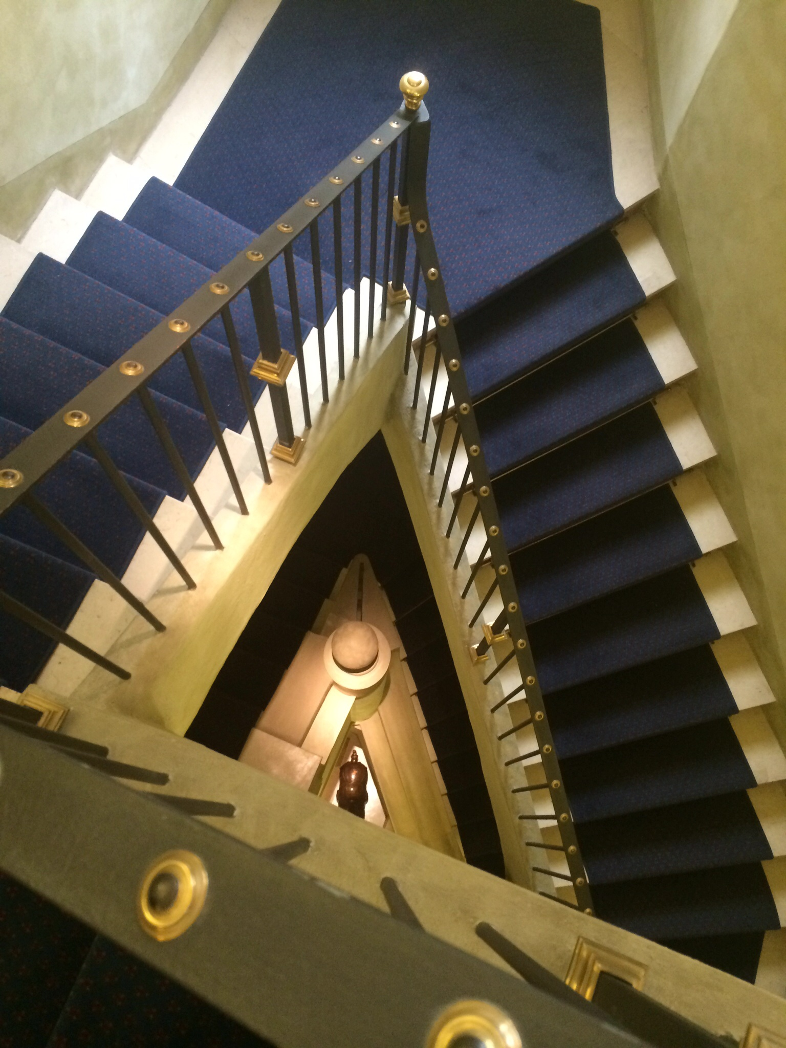 The hotel stairs.