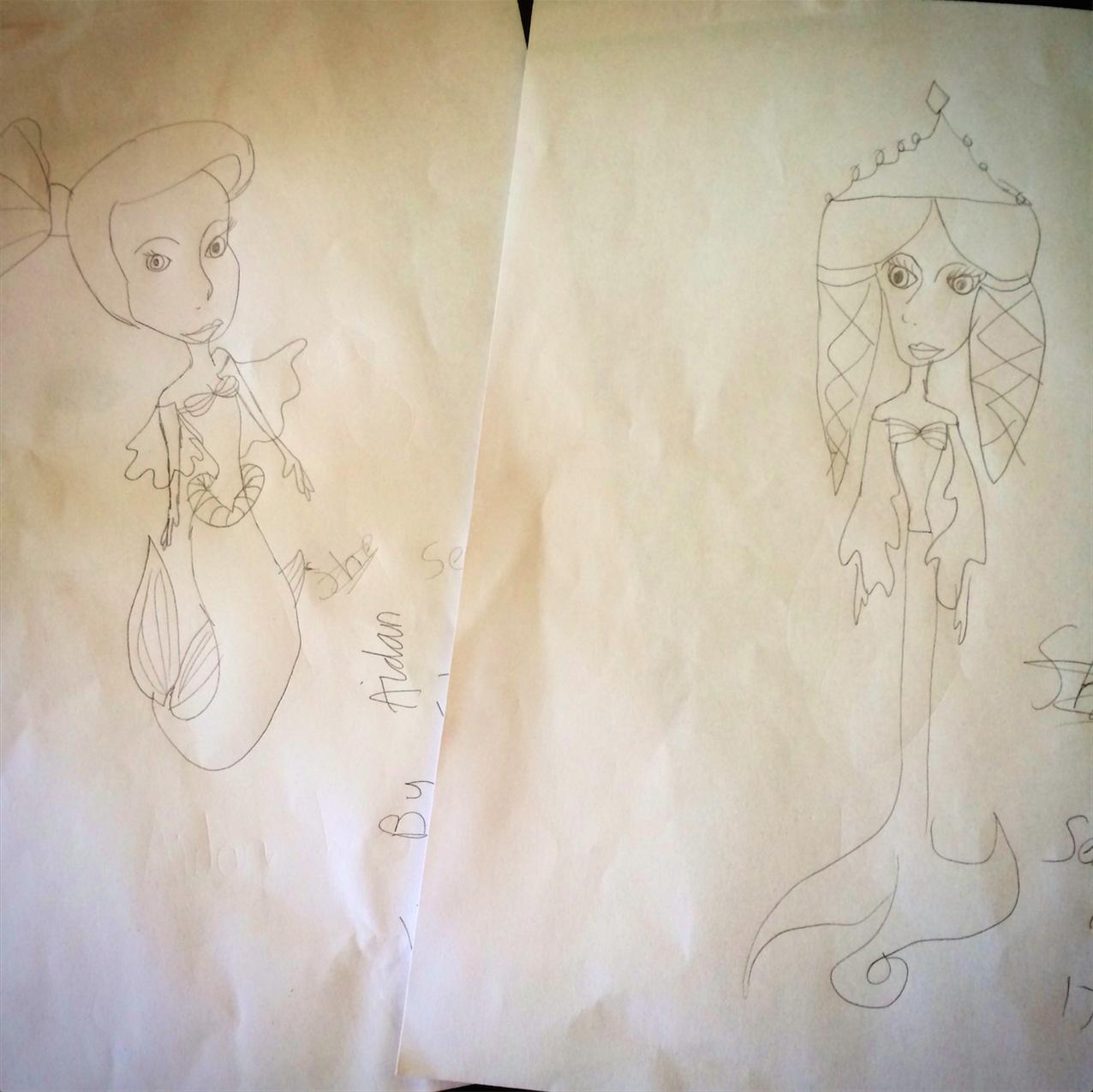 Amazing mermaid drawings, by Aiden.
