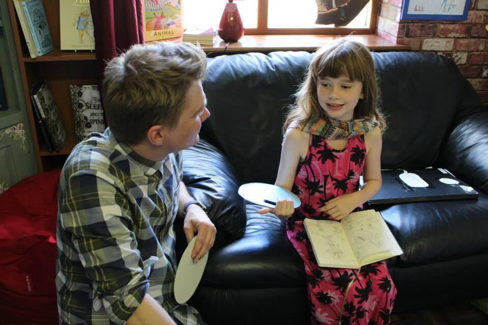 Sienna is telling me all about her fantastic picture book characters.