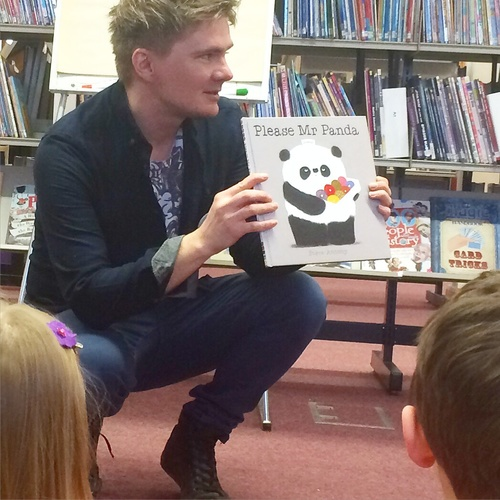 Reading Mr Panda on National Libraries Day at Royal Wootton Bassett Libraray.