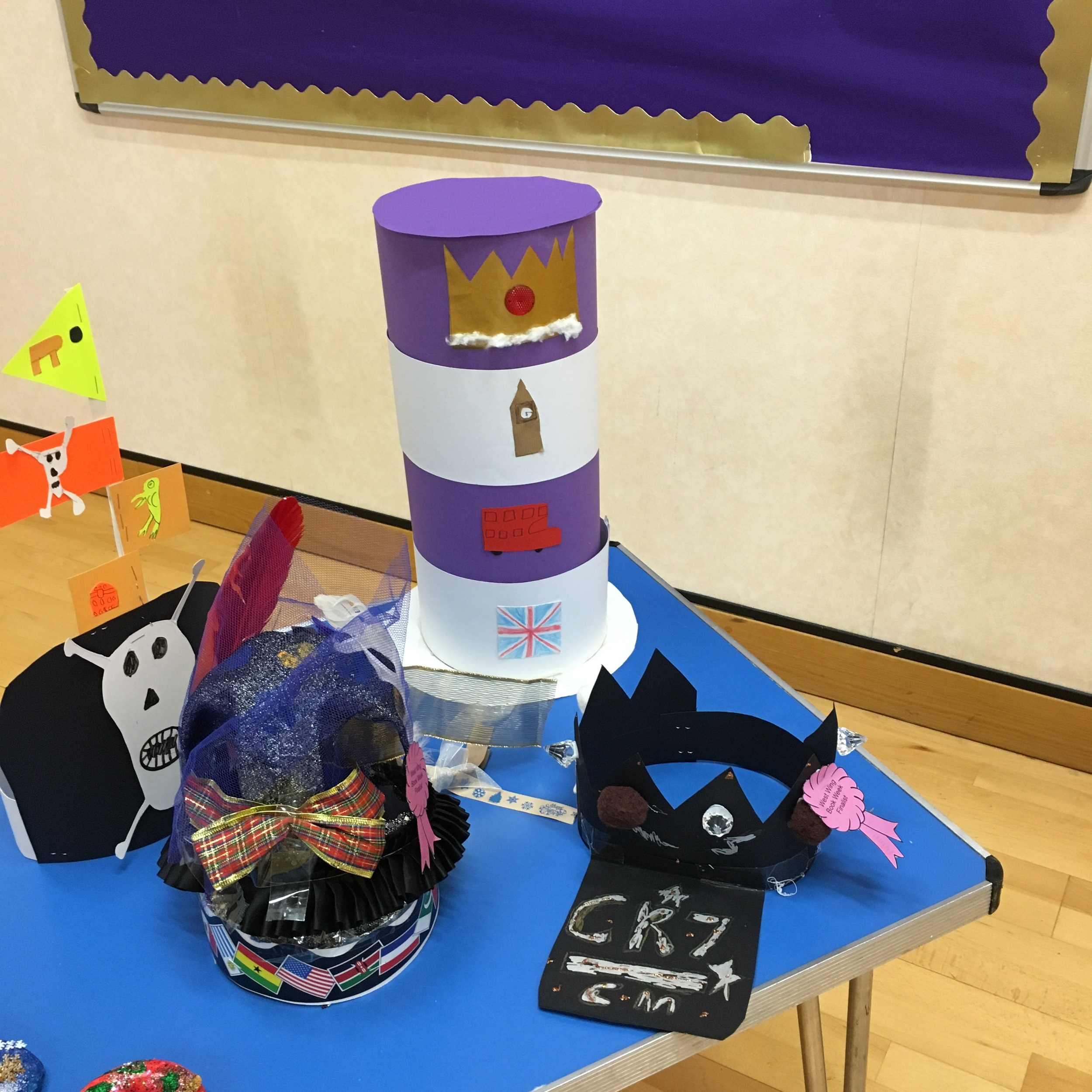 Another wing of the school made hats. These are the finalists' hats.
