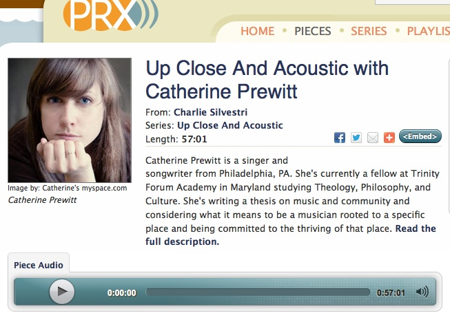 Click to listen to this radio interview and performance on Charlie Silvestri's Up Close and Acoustic, March 2013.