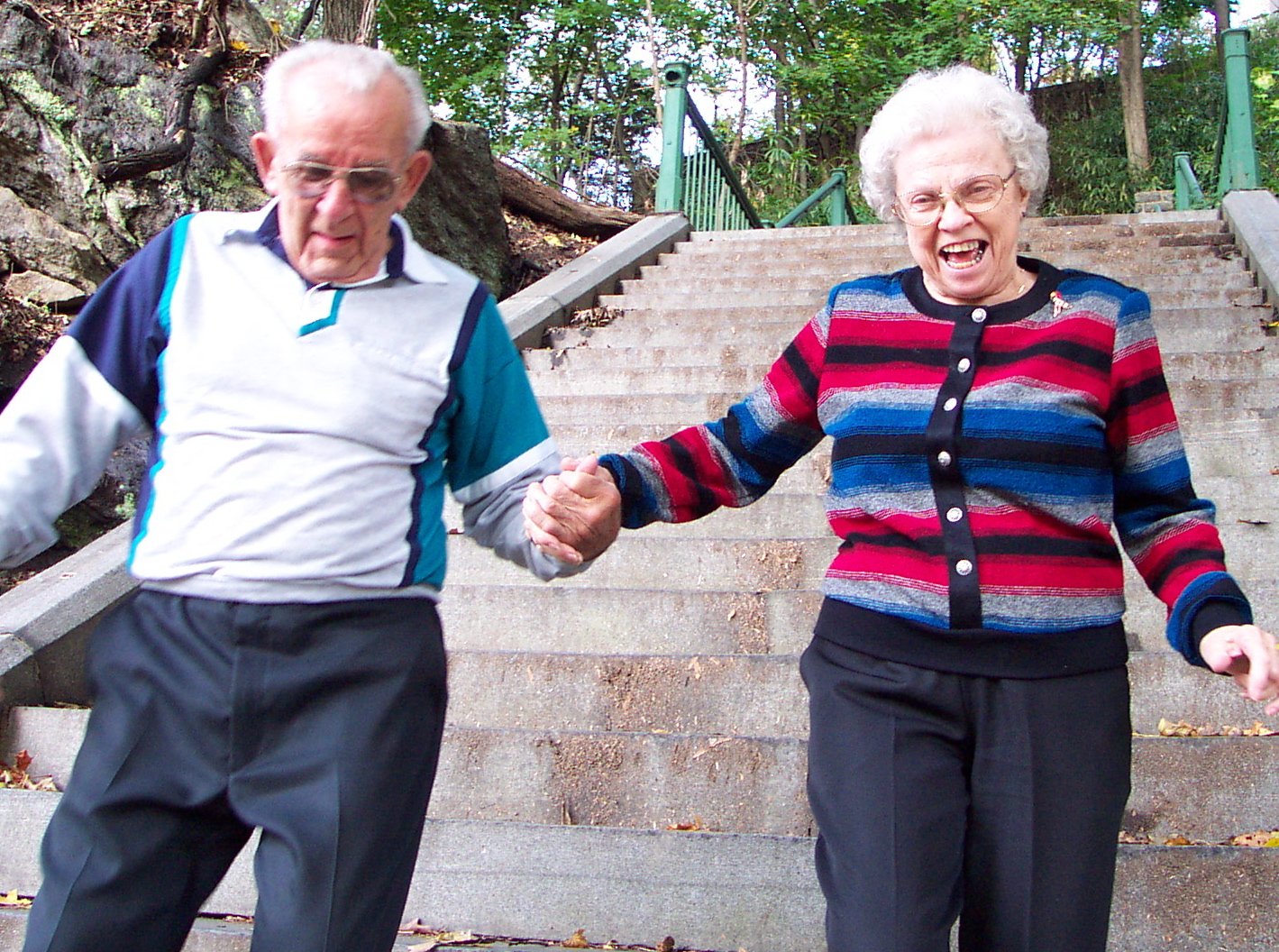 My parents, Arlene and Arthur Troutman, walking down the Hundred Steps in October 2002.