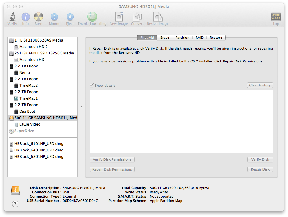 Disk Utility Screen shot