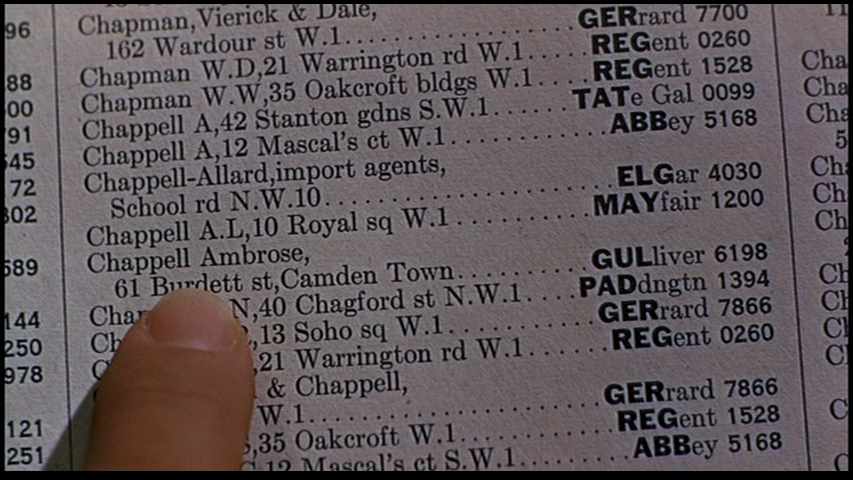 This shot of a phone book page shows phone numbers that look suspiciously real, unlike the faux numbers that are all the rage today. The Man Who Knew Too Much 1956