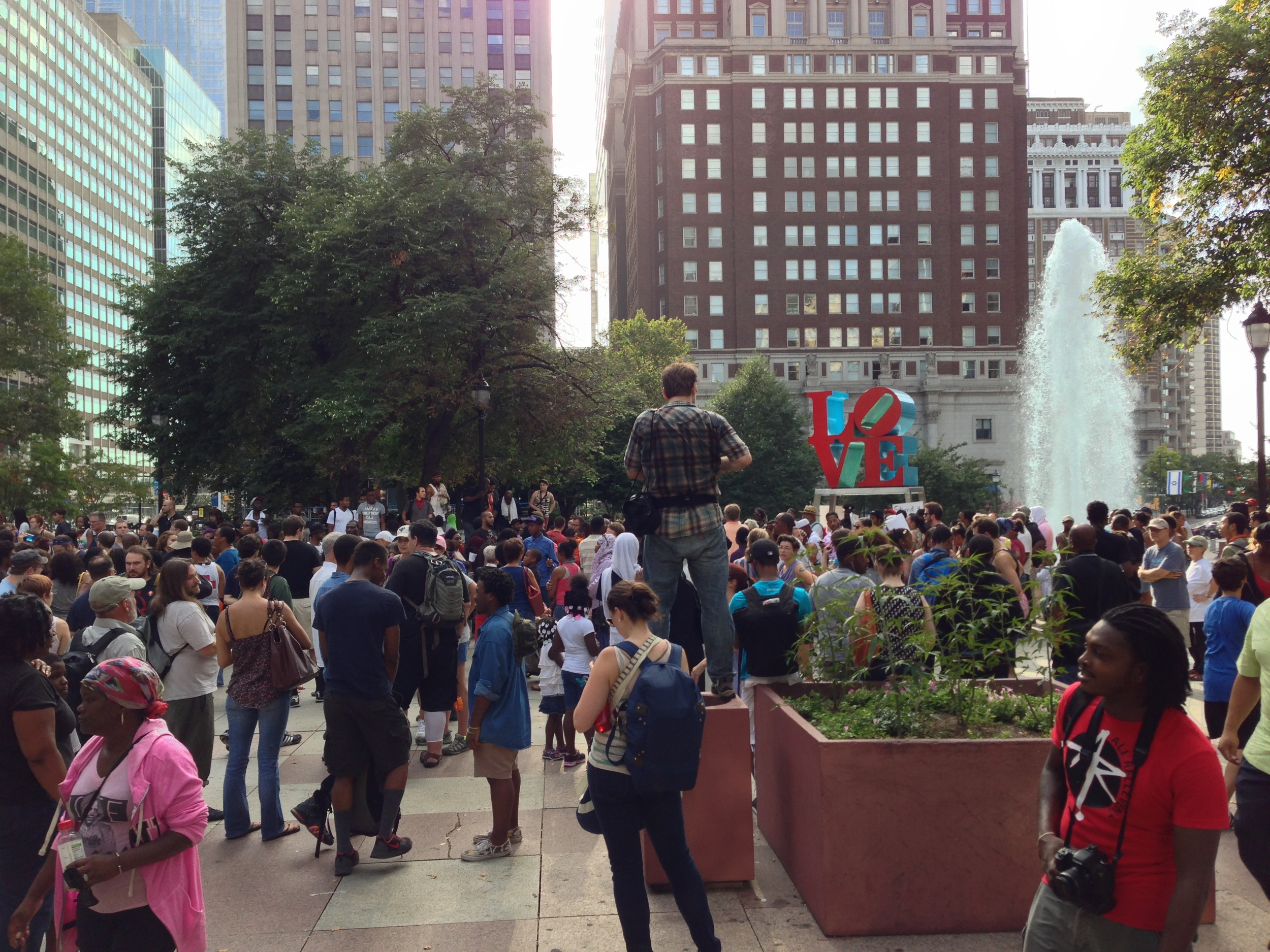 The rally at Love Park (Center City Philadelphia) for the verdict in the Trayvon Martin killing.