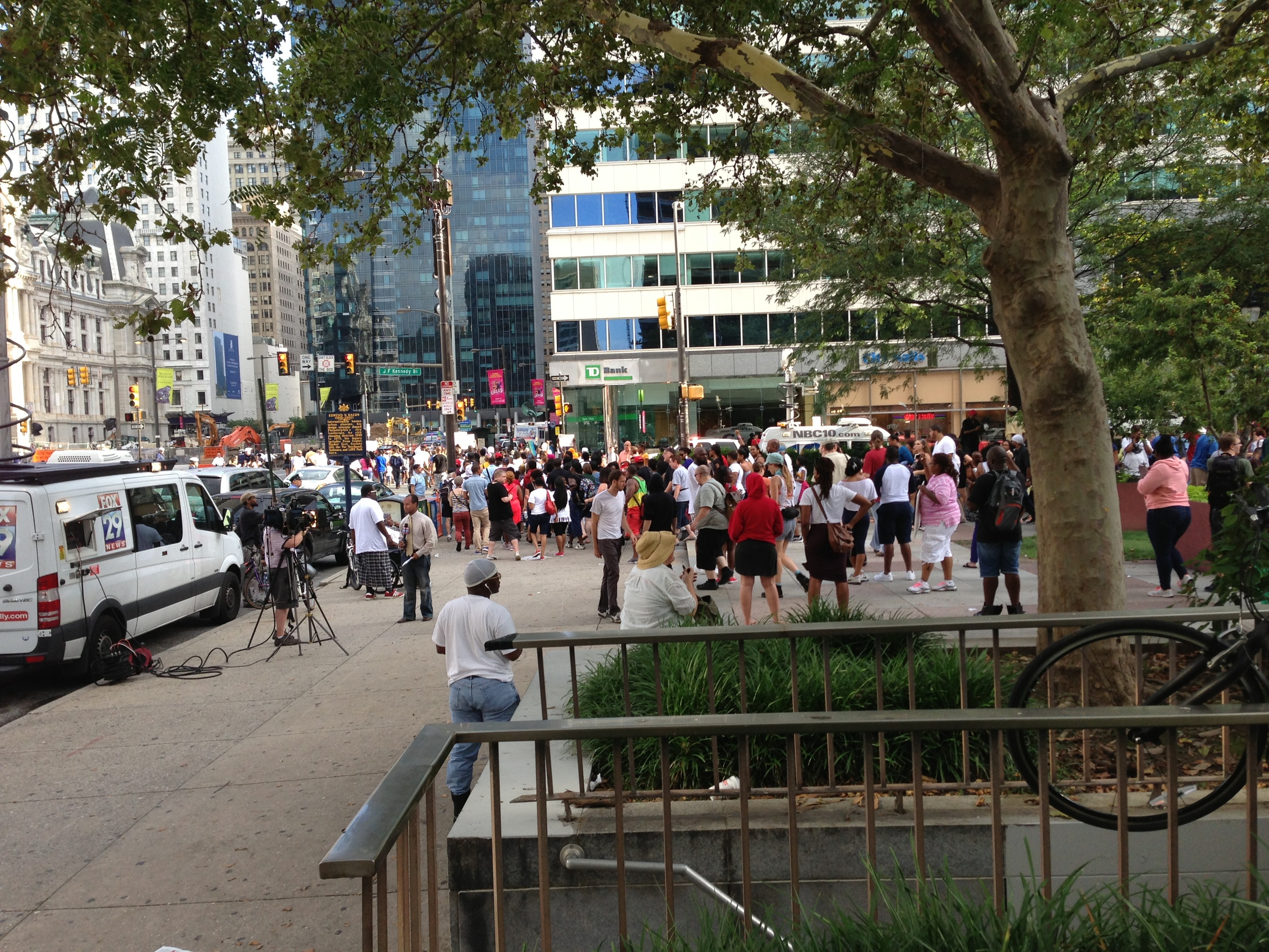 The Trayvon Martin rally in Love Park becomes a march down 15th street; don't know where they were headed.