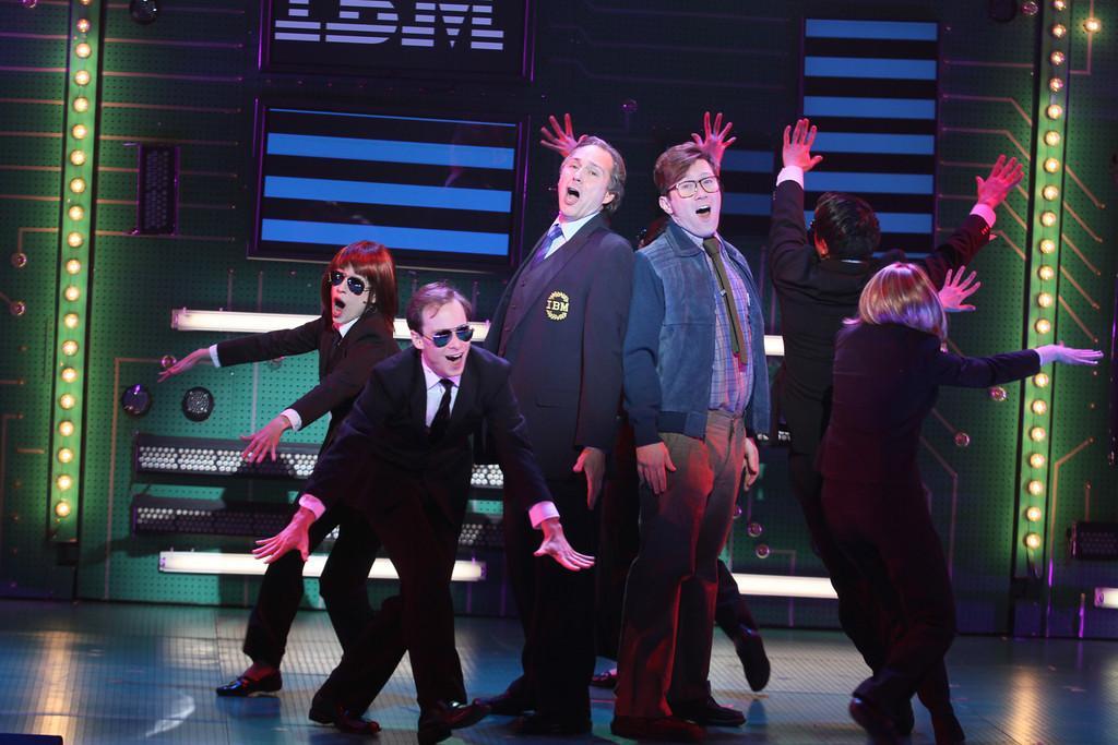 Kevin Pariseau (as Tom Watson) schooling Stanley Bahorek (as Bill Gates) in the ways of ruthless business.