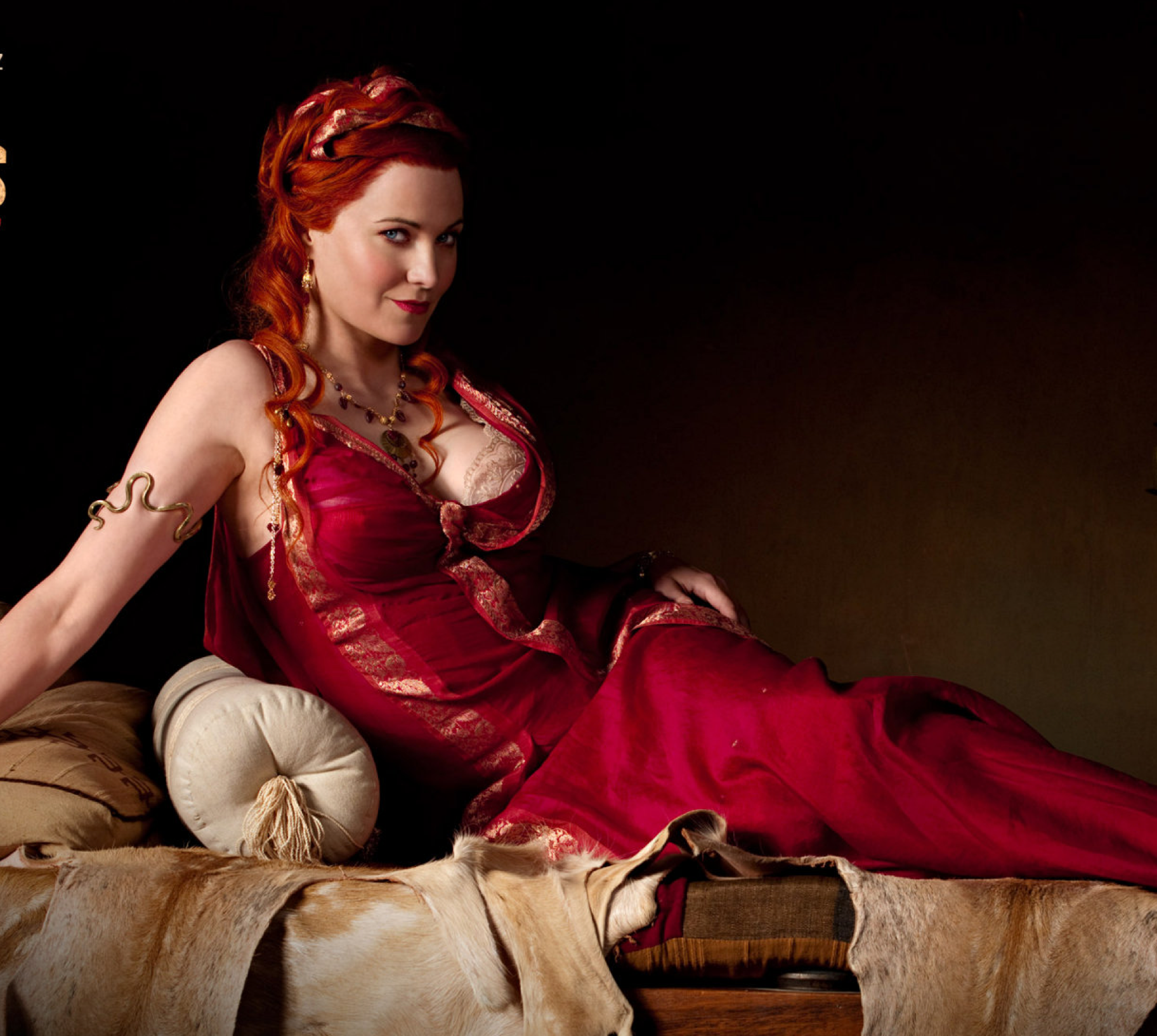 Lucy Lawless portrays a brutally cunning Lucretia, the wife of Batiatus, the owner of the Ludus