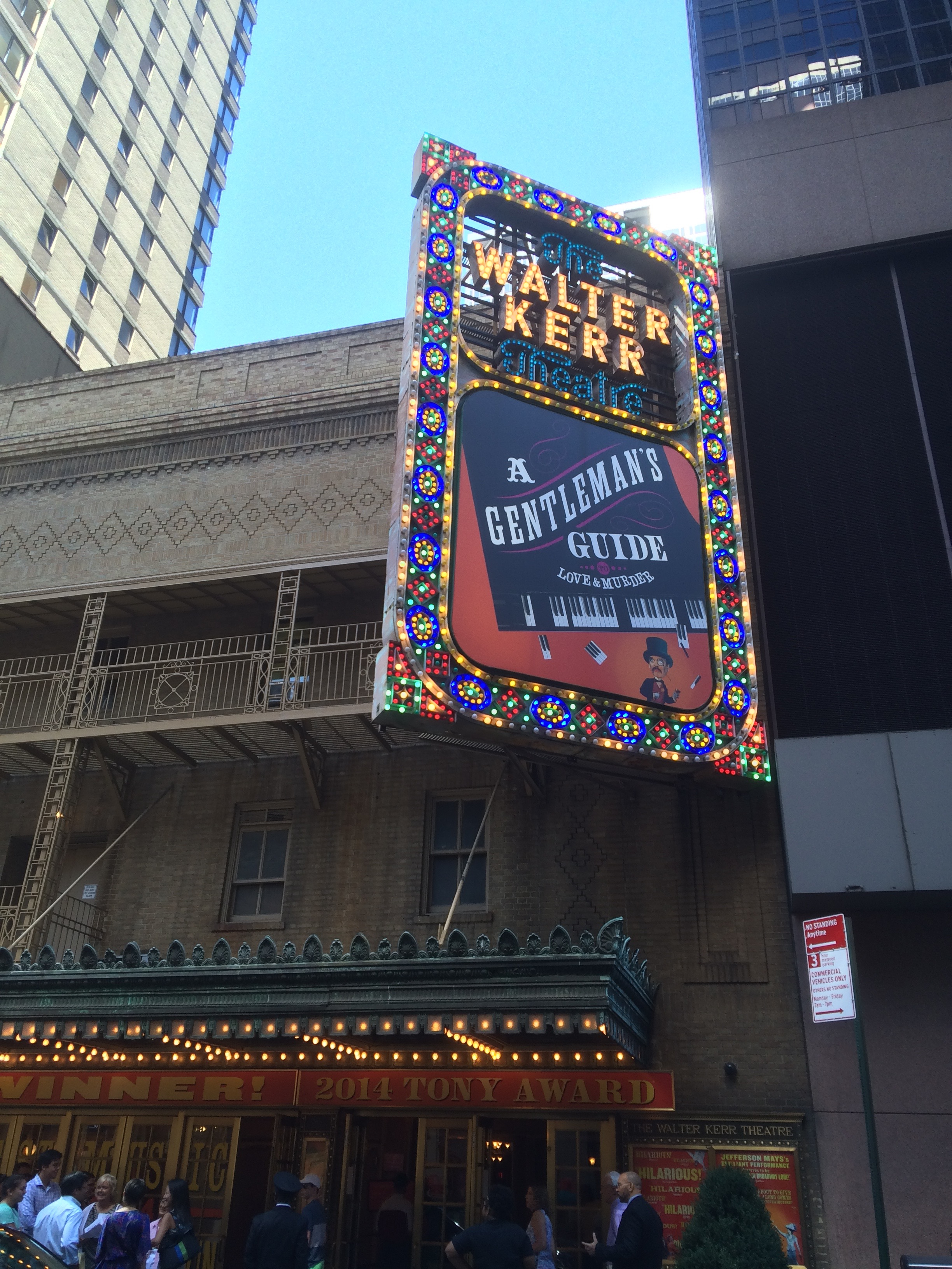 A Gentleman's Guide marquee at the Walter Kerr Theatre.
