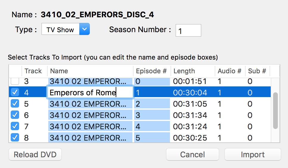 iVI Pro DVD Import Window