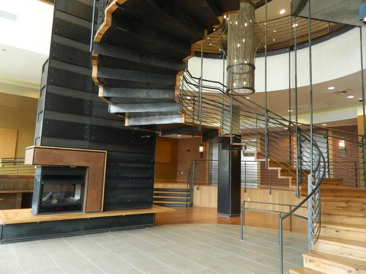 The spiral staircase in the Granary lobby