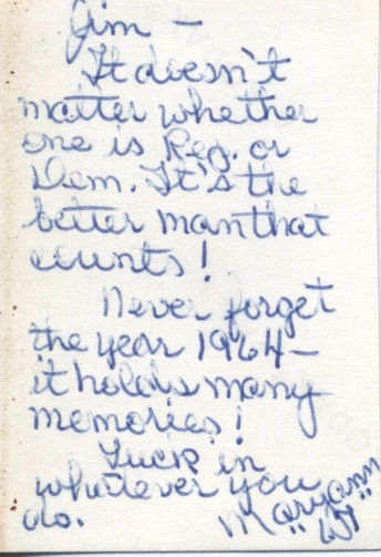 Maryann Shelhamer wrote a gracious note on the back of her picture.