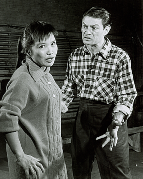 In rehearsal are Pat Suzuki as Linda Low and Larry Storch who was originally cast as Sammy Fong before the part was given to Larry Blyden