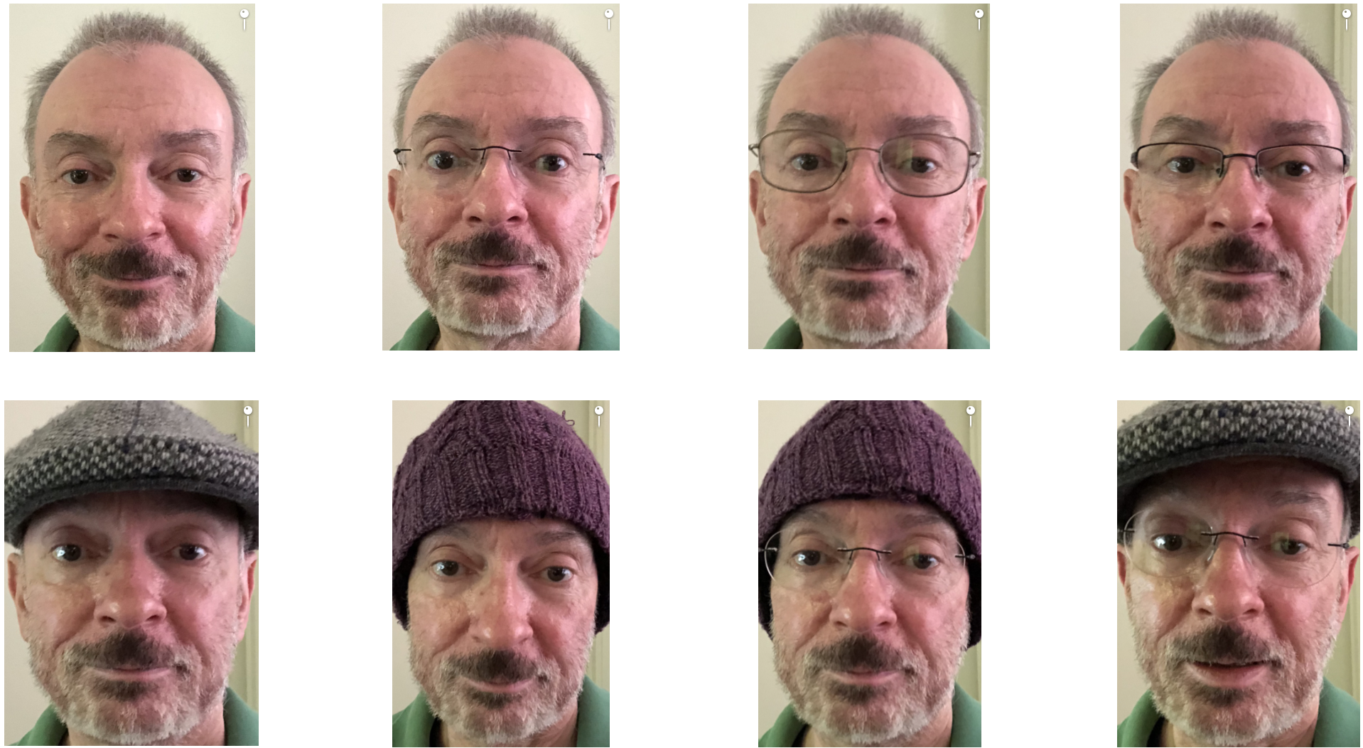 Face ID recognizes any of these variations of my face with and without glasses and caps.