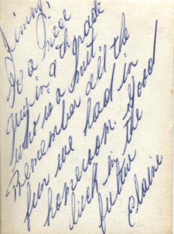 The back of Elaine's photo