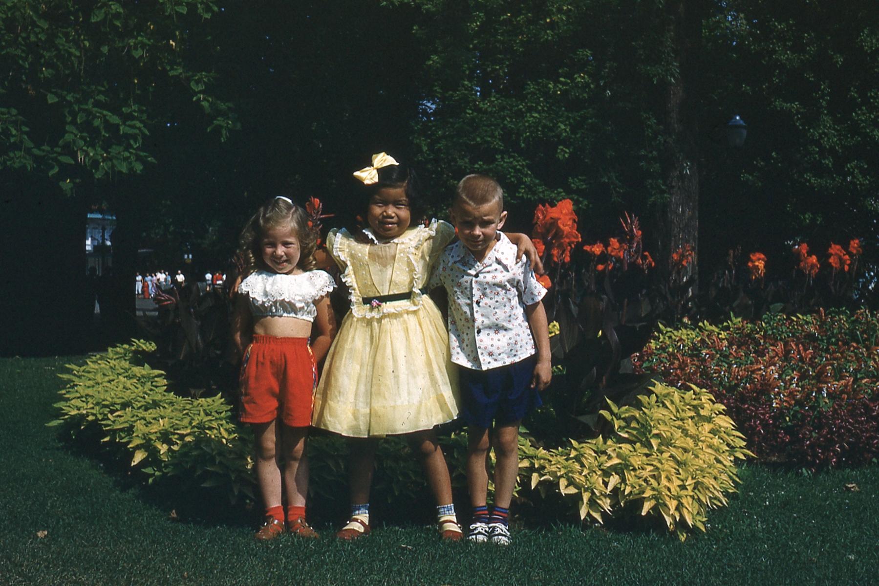 Barbara Light, cousin Kathy Zellers, and me circa 1954