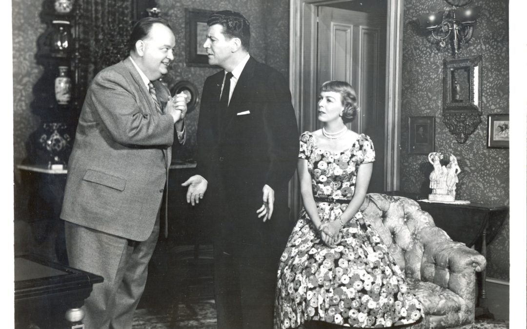 Robert Emhardt, Robert Preston, and Margaret Sullavan as Mr. Harper, Gil, and Jessica in a scene from the original production of Janus