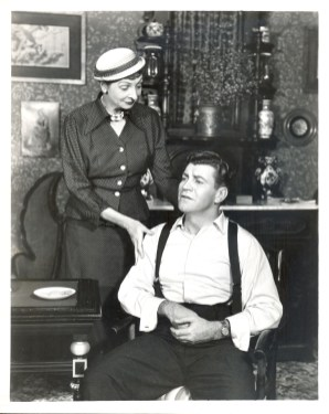 Mary Finney and Robert Preston as Miss Addy and Gil in a scene from the original production of Janus