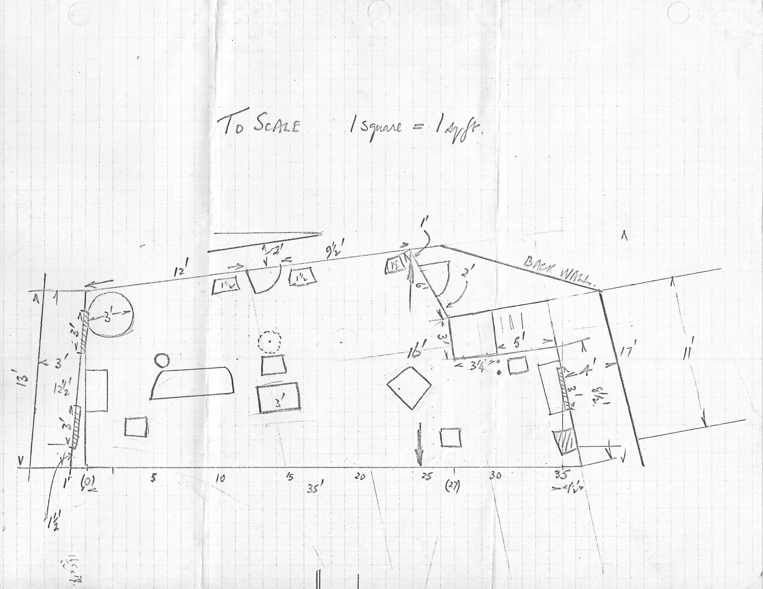 The set plans for our production of Janus. That square marked 3' by 3 1/4 is the dumbwaiter where as Denny I made most of my entrances and exits.