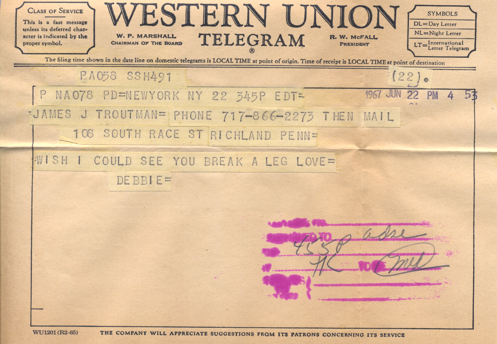 The telegram from Debbie