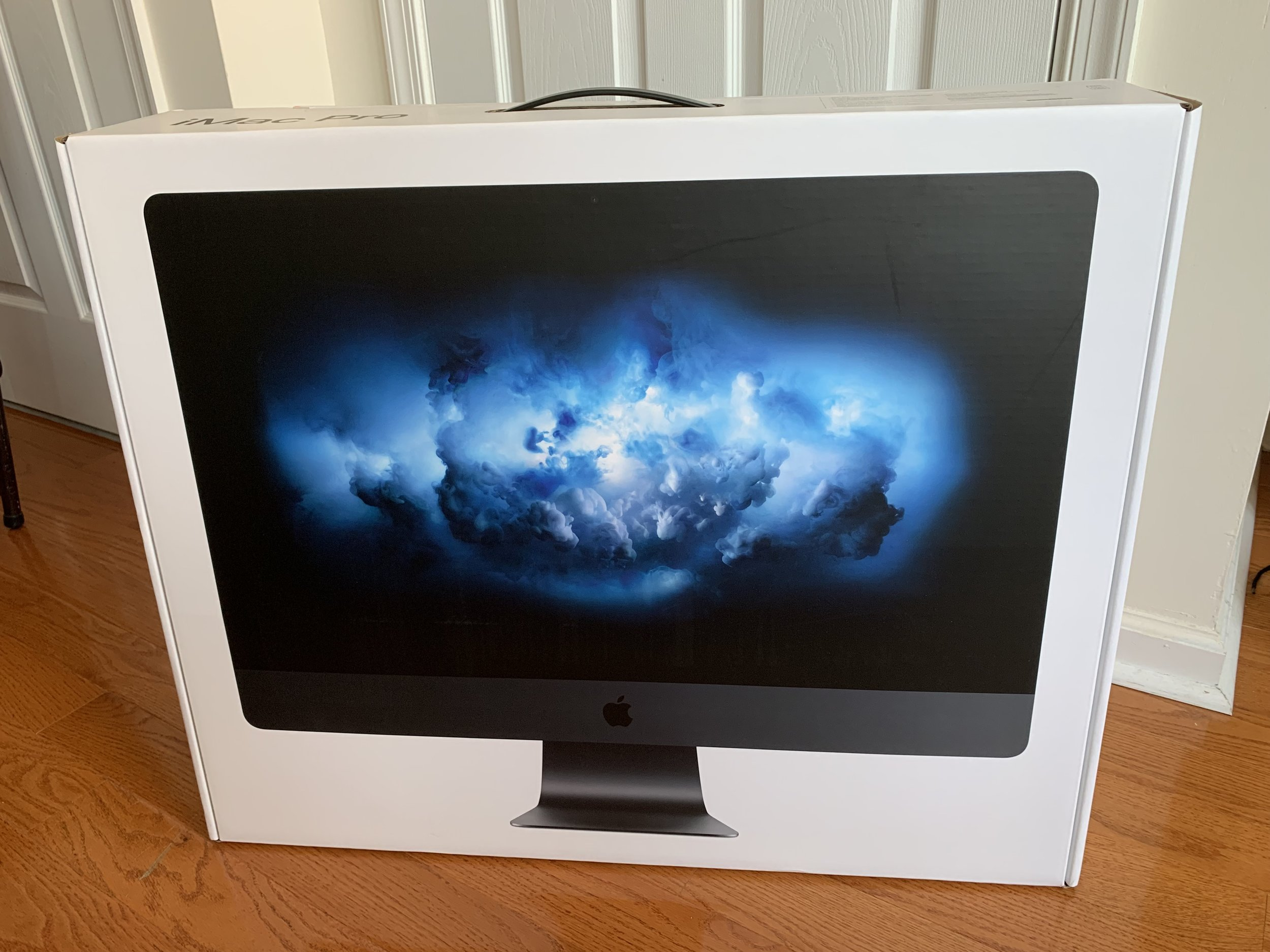 My new iMac Pro still in the box. I'll start setting it up after lunch.