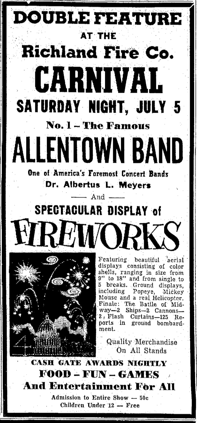 Ad for the Richland Carnival in the July 5, 1958 edition of the Lebanon Daily News