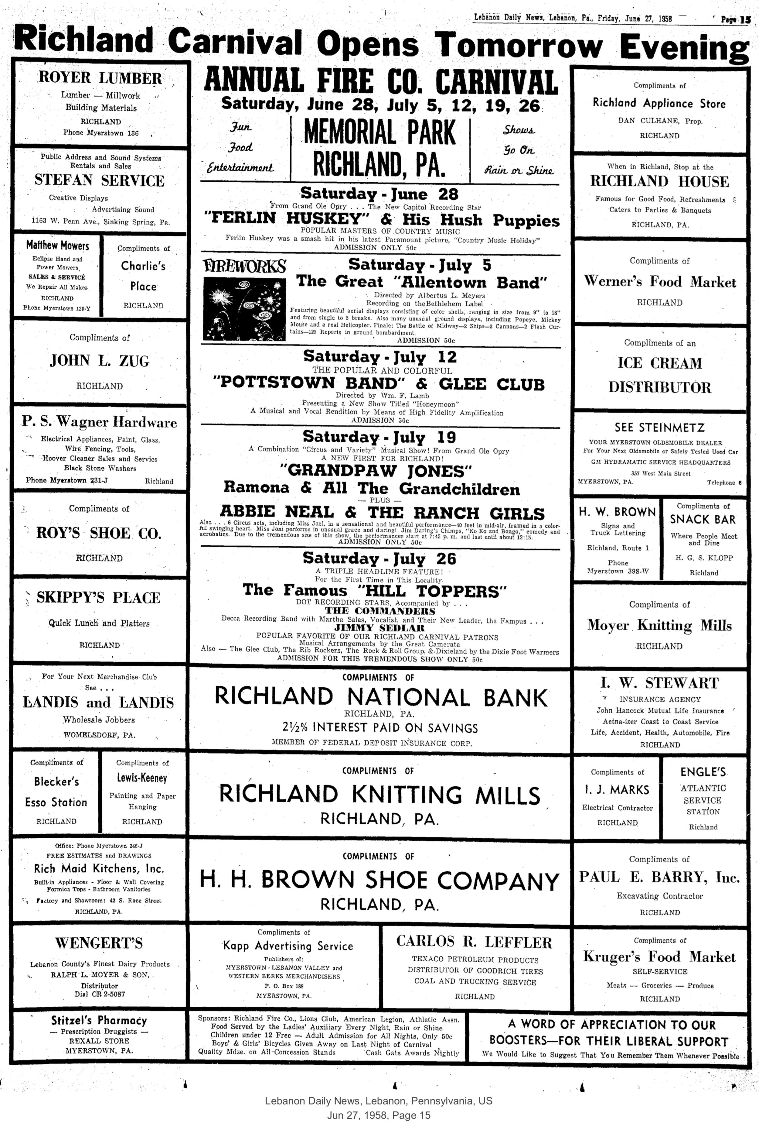 Ad for the Richland Carnival in the June 27, 1958 edition of the Lebanon Daily News