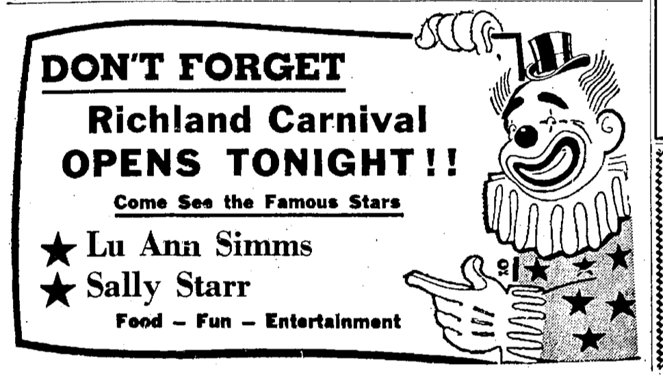 Ad for the Richland Carnival in the June 27, 1959 edition of the Lebanon Daily News