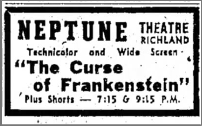 Ad for the showing of The Curse of Frankenstein at the Neptune Theatre in the December 11, 1957 edition of the Lebanon Daily News