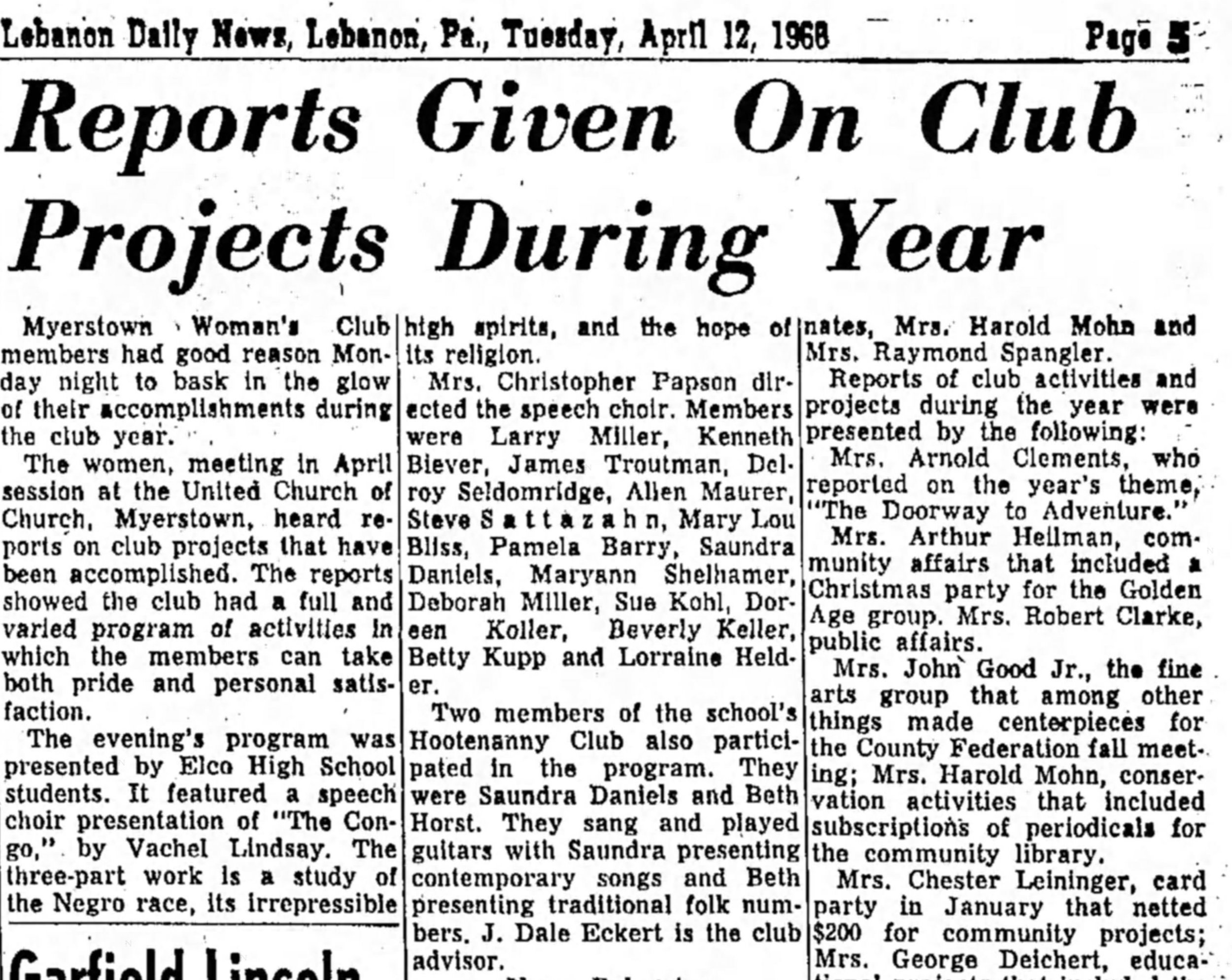 From the Lebanon Daily News April 12, 1966