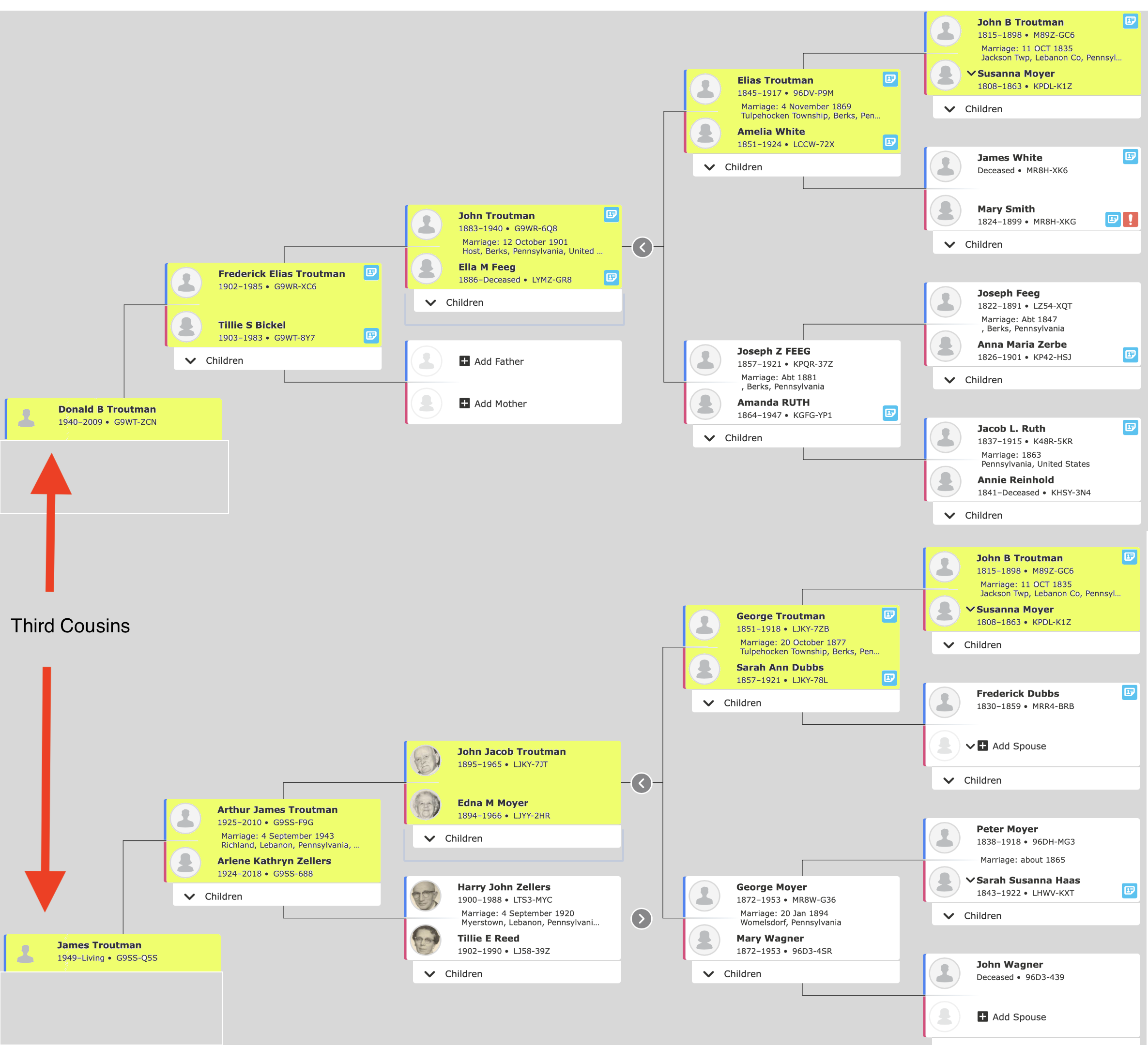 The family tree showing our connection. Notice in the rightmost column that John B Troutman and Susanna Moyer (highlighted) are shown twice. Their offspring, Elias Troutman and George Troutman are brothers. Their respective offspring, John Troutman and John Jacob Troutman, are cousins. They in turn beget Frederick Elias Troutman and Arthur James Troutman, who are second cousins. And finally, their sons are Donald and me, who are third cousins. Click the image to enlarge.