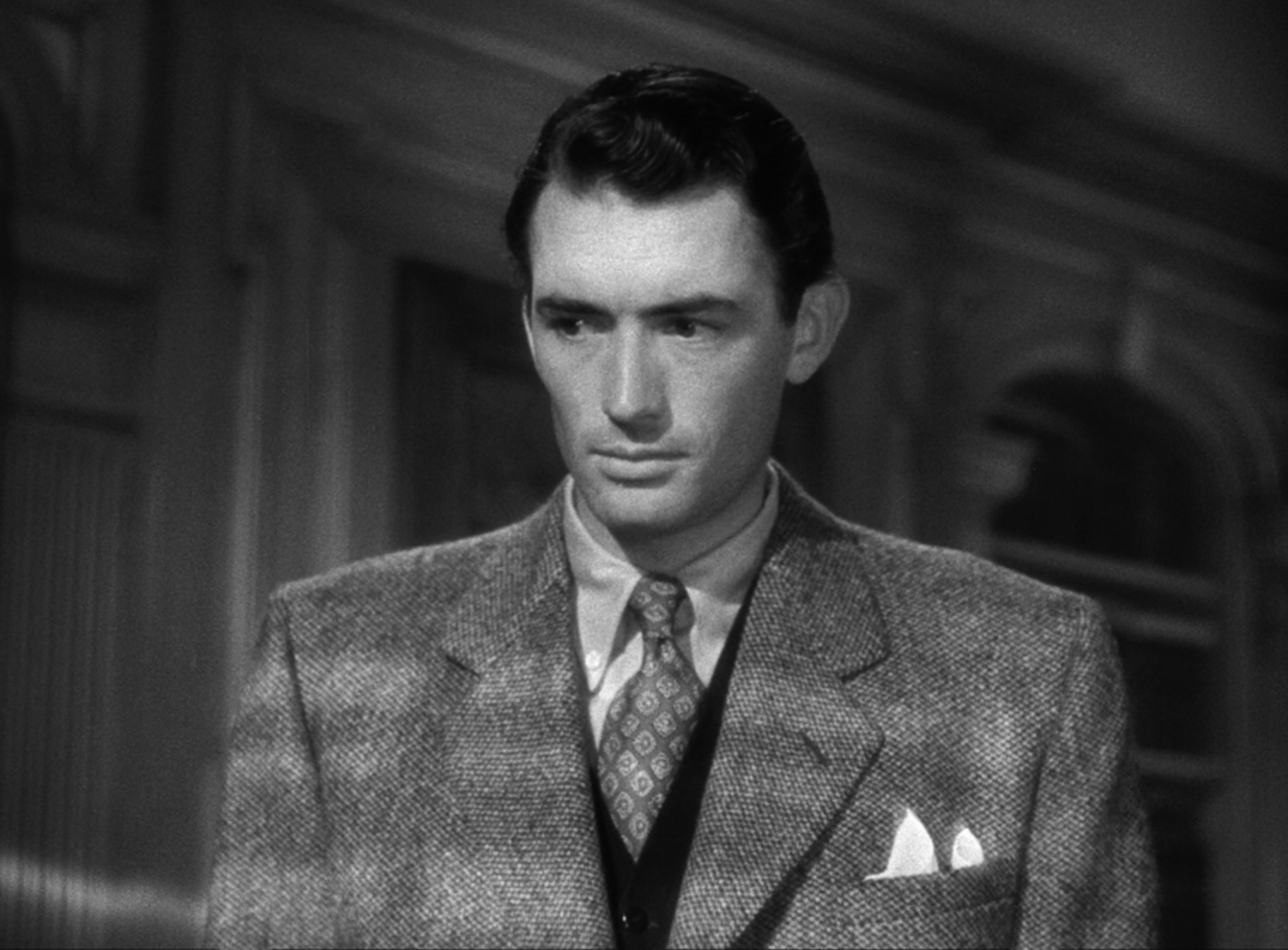 Gregory Peck in Spellbound, a movie whose plot involves amnesia