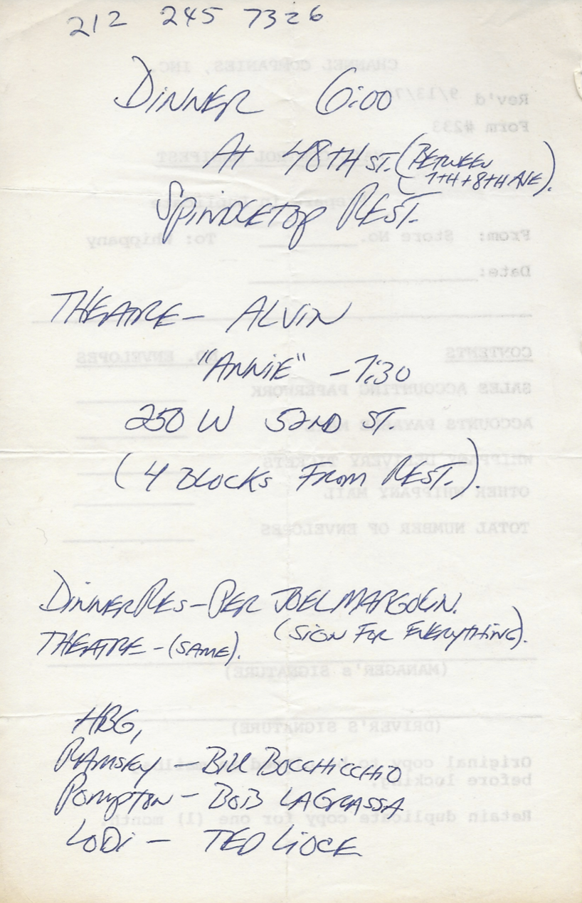 I found the Playbill for Annie which had the handwritten instructions for that evening, as well as the names of the other stores which had won: Ramsey, Pompton, and Lodi. Alas, it doesn't have the date, and I didn't save the ticket stub, so the best I can date this is July 1979 from the Playbill.