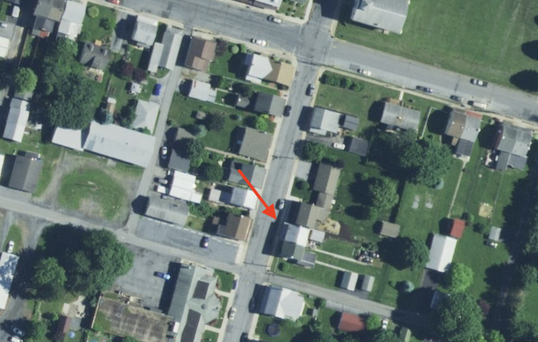 Satellite photo of Womelsdorf and the approximate house where we lived from 1949 to 1952