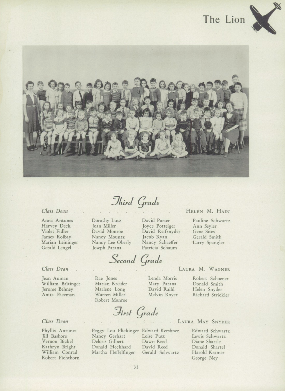 The combined first, second, and third grade photo from the Womelsdorf 1943 yearbook. Nancy Oberly is listed as being in third grade, but her position in the photo isn't.
