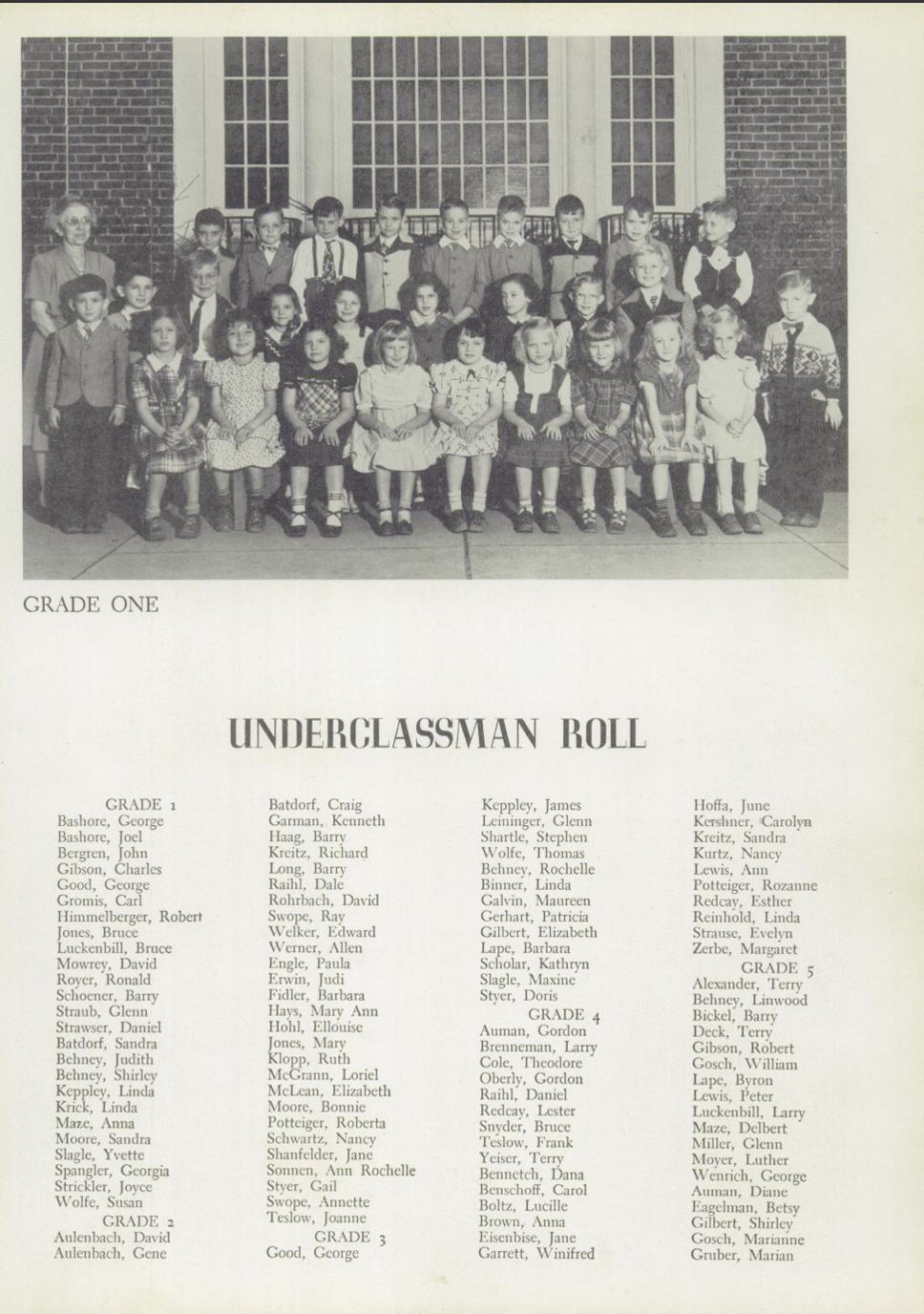 Womelsdorf Yearbook 1950 1st Grade Bashores.jpg