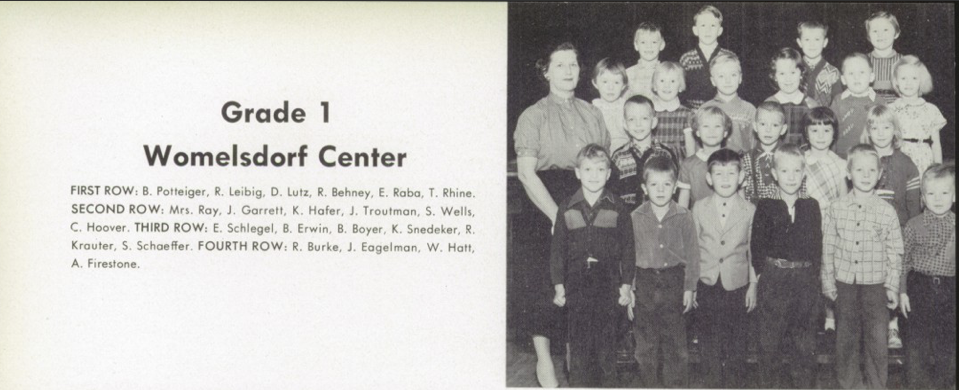 "My first grade class. Notice James Eagelman, the tallest kid in the class, in the back row. James Garrett is in the second row next to our teacher, Mrs. Ray, and I'm a couple kids to the right with an expression on my face that seems to say ""What am I doing here?"" Notice Tommy Rhine at the far right in the first row. He was the shortest guy in the class, and thanks to kids like him, I grew up not realizing I was rather short myself."