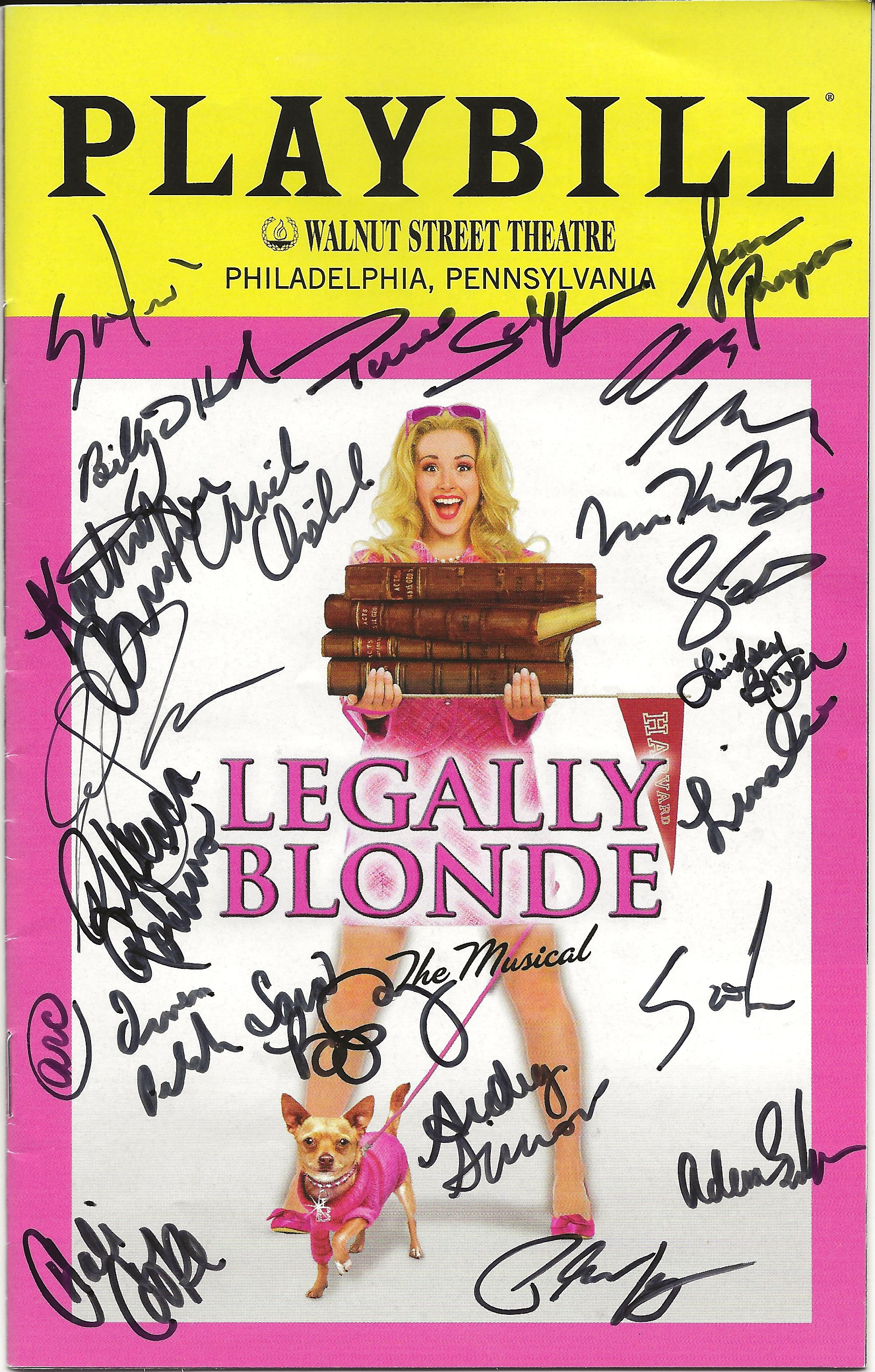 The Playbill signed by the entire cast of the Walnut Street's Legally Blonde