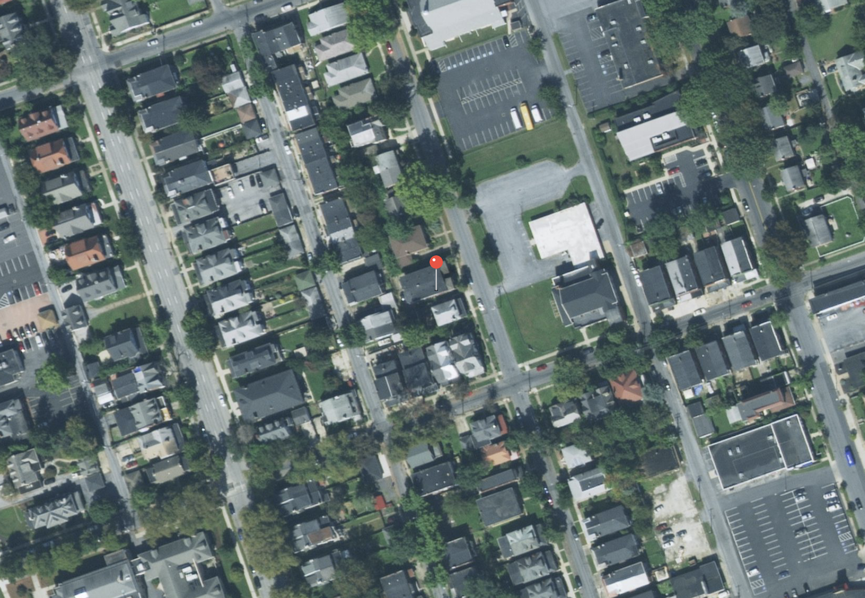 Satellite map of where I lived on Green St in Harrisburg