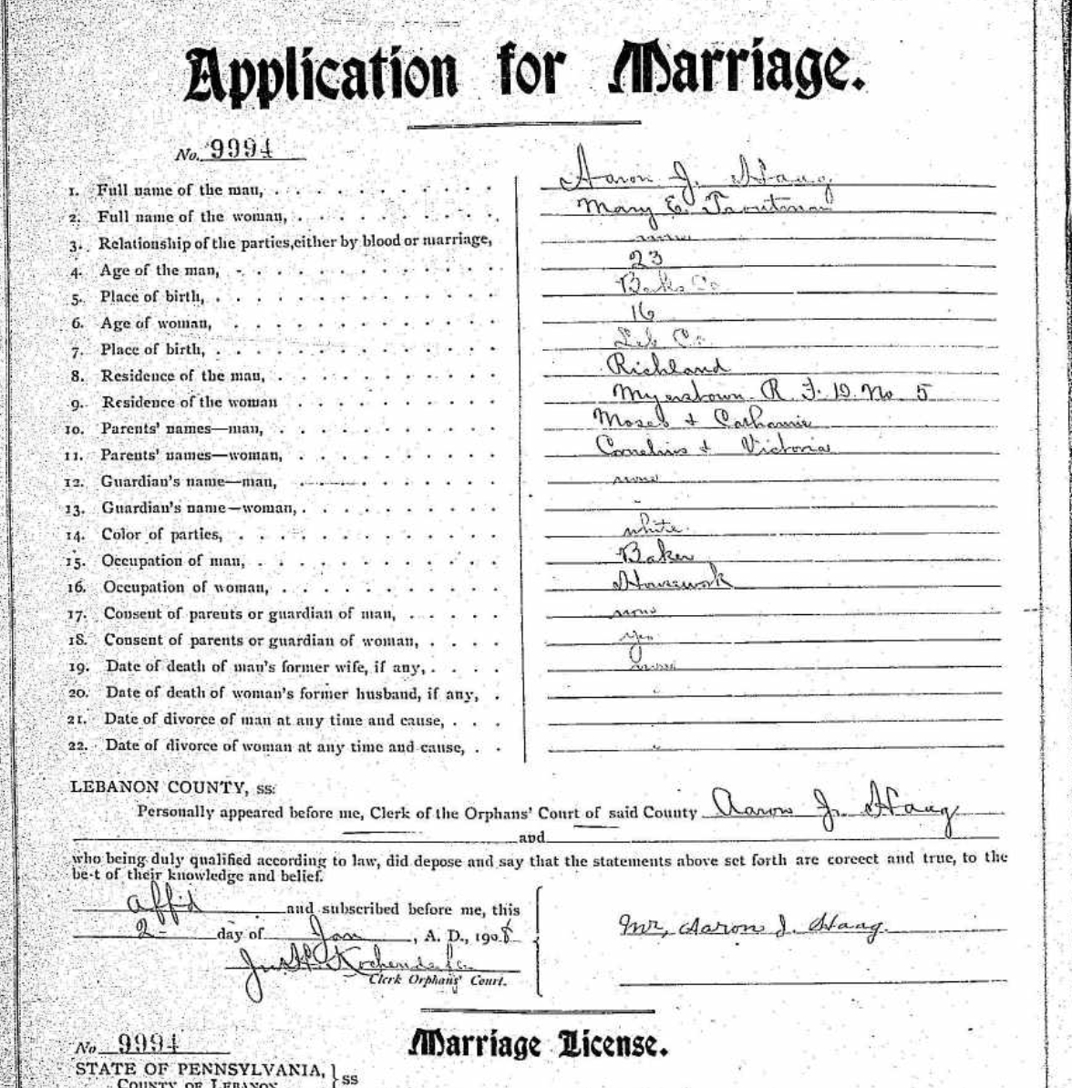 Mary's marriage application showing the misspelling of Haak as Haag
